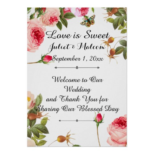 PixDezines Vintage Roses/Reception Poster