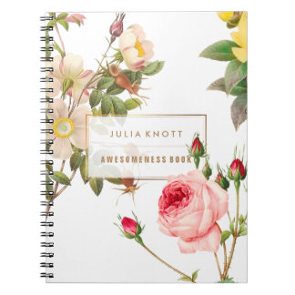 PixDezines Vintage Roses/Redoute Spiral Notebook