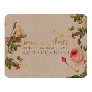 PixDezines vintage roses/save our date 11 Cm X 14 Cm Invitation Card