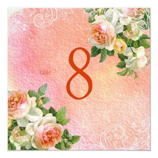 PixDezines vintage roses/watercolor/table numbers Card