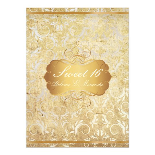 PixDezines vintage sweet 16/princess/damask Card