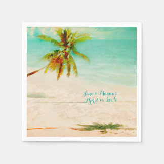 PixDezines Vintage Tropical Beach Disposable Napkins