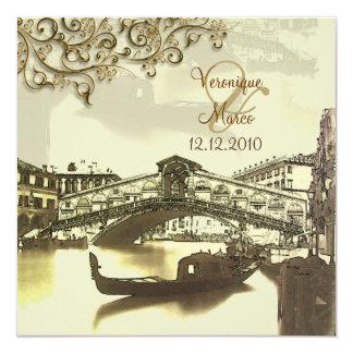 PixDezines Vintage Venezia+Rialto Bridge 13 Cm X 13 Cm Square Invitation Card