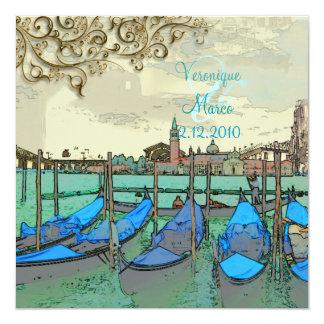 PixDezines Vintage Venezia+Rialto Bridge 5.25x5.25 Square Paper Invitation Card