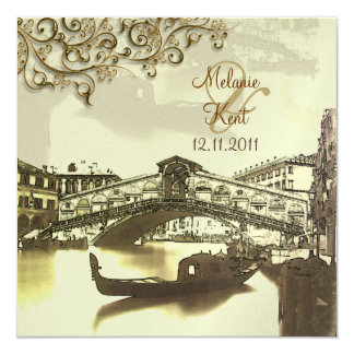 PixDezines Vintage Venezia, Rialto Bridge/Swirls 13 Cm X 13 Cm Square Invitation Card