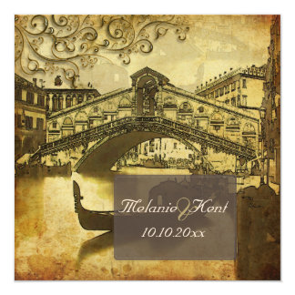 PixDezines Vintage Venezia, Rialto Bridge/Swirls 13 Cm X 13 Cm Square Invitation Card