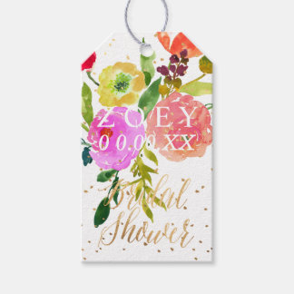PixDezines Watercolor Floral Bridal Shower Gift Tags