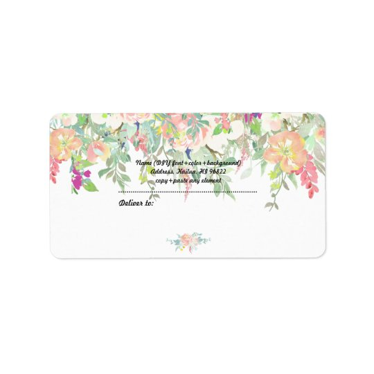 PixDezines Watercolor Floral/Peach+Mint Peonies Address Label
