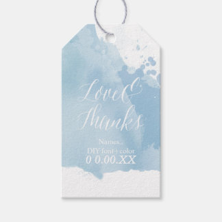 PixDezines Watercolor, Serenity Blue/Love/Thanks Gift Tags