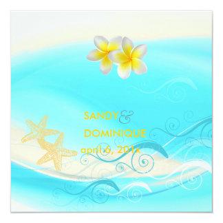 PixDezines Waves, Plumeria Lei+starfish+beach 13 Cm X 13 Cm Square Invitation Card