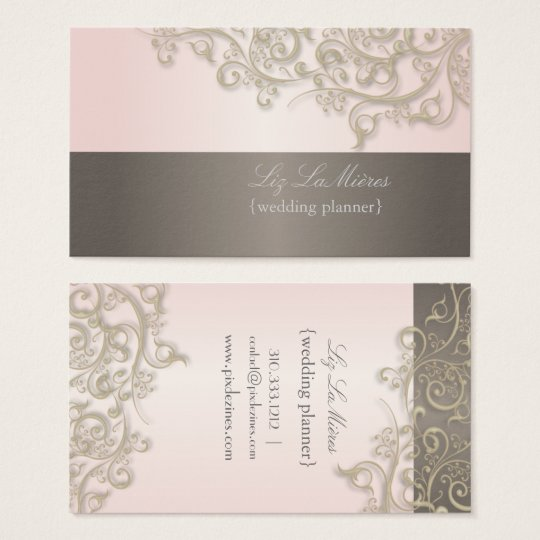 PixDezines Wedding Planner, titanium swirls Business Card