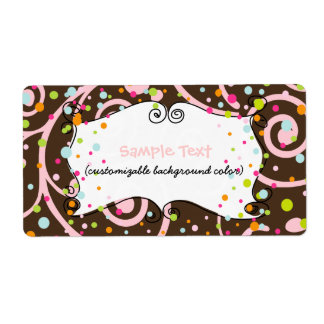 PixDezines Whimsy, pink chocolate, cupcakes Shipping Label