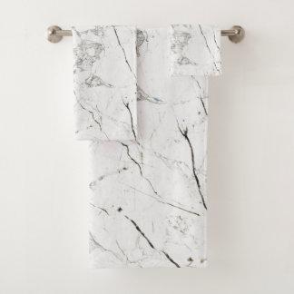 PixDezines White Marble Bath Towel Set