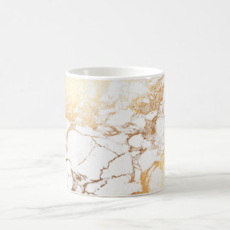 PixDezines WHITE MARBLE+FAUX GOLD VEINS Coffee Mug