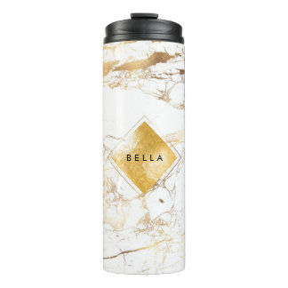 PixDezines WHITE MARBLE FAUX GOLD VEINS Thermal Tumbler