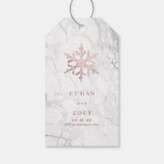 PixDezines White Marble Faux Rose Gold Snowflakes Gift Tags