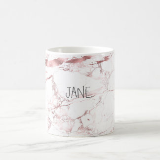PixDezines WHITE MARBLE+FAUX ROSE GOLD VEINS Coffee Mug