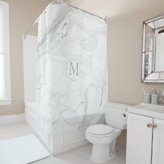 PixDezines WHITE MARBLE+MONOGRAM (removable) Shower Curtain