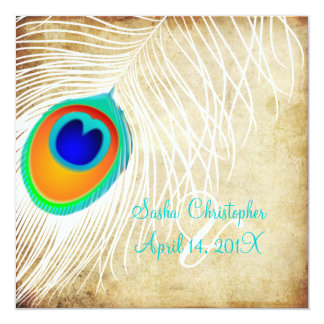 PixDezines white peacock feather/vintage 13 Cm X 13 Cm Square Invitation Card