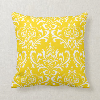 PixDezines White Rossi Damask/Yellow/DIY color Cushion