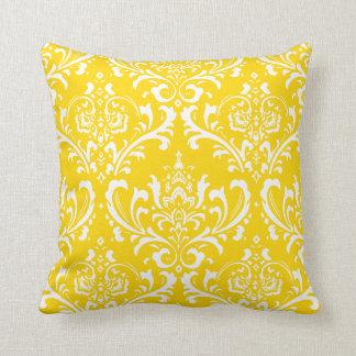 PixDezines White Rossi Damask/Yellow/DIY color Throw Pillow