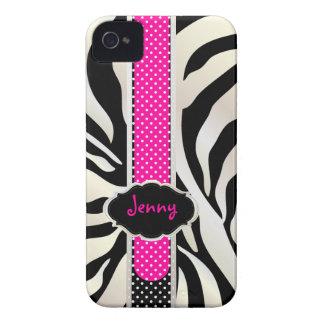 PixDezines White Zebra/Pink+Black/DIY color iPhone 4 Cover