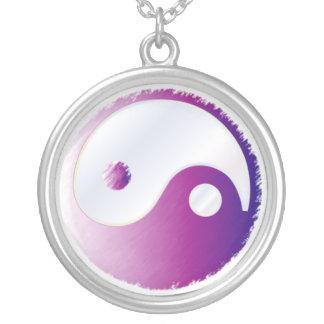PixDezines Yin Yang, Fuschia Round Pendant Necklace