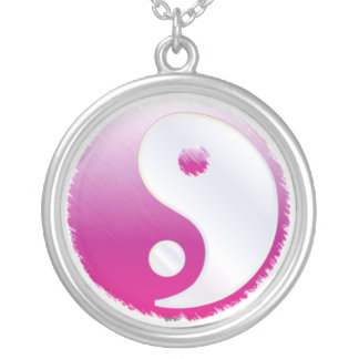 PixDezines Yin Yang, Fuschia Silver Plated Necklace