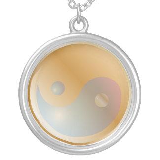 PixDezines Yin Yang, Gold/Silver Tone Round Pendant Necklace