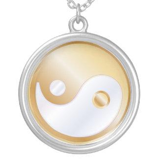 PixDezines Yin Yang, Gold Tone Round Pendant Necklace