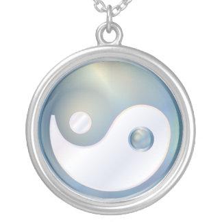 PixDezines Yin Yang, Silver Blue Round Pendant Necklace