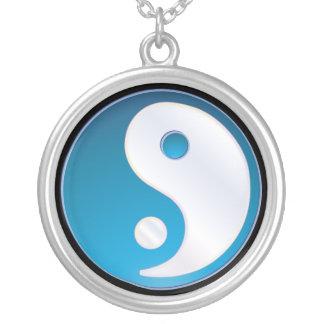PixDezines Yin Yang, Teal Round Pendant Necklace