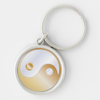 PixDezines yin yang/white+faux gold Silver-Colored Round Key Ring