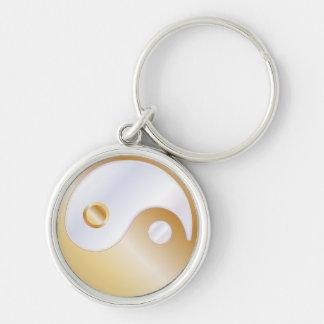 PixDezines yin yang white+faux gold Key Chains