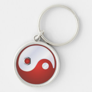 PixDezines yin yang/white+red Silver-Colored Round Key Ring