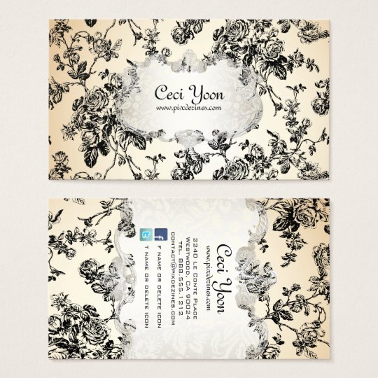 PixDezinves toile/black roses/DIY background Business Card