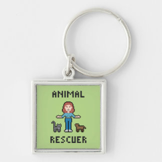 Pixel Animal Rescuer Key Ring
