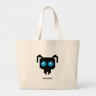 Pixel_Ant_Blue Canvas Bags