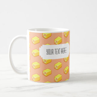 Pixel Art Battenberg Cake Pattern with Label Coffee Mug