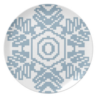 Pixel art Blue snowflake Party Plates
