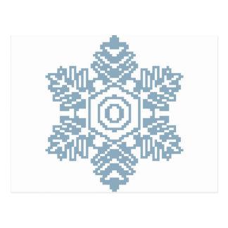 Pixel art Blue snowflake Postcard