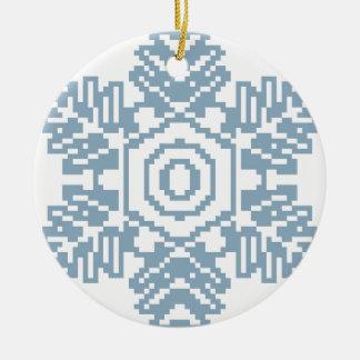 Pixel art Blue snowflake Round Ceramic Decoration