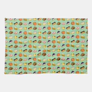 Pixel Art Cakes and Pastries Pattern Tea Towel
