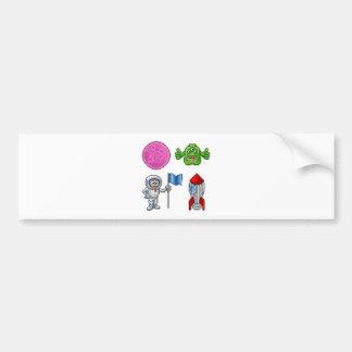 Pixel Art Cartoon Space Set Bumper Sticker