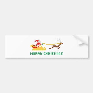 Pixel art Christmas Santa and Sled Bumper Stickers