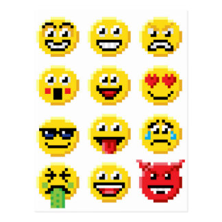 Pixel Art Emoji Emoticon Set Postcard