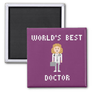 Pixel Art Female Doctor Magnet 2 Inch Square Magnet
