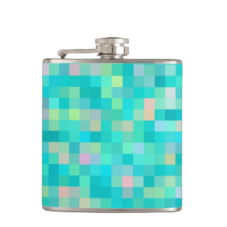 Pixel Art Multicolor Pattern Hip Flask