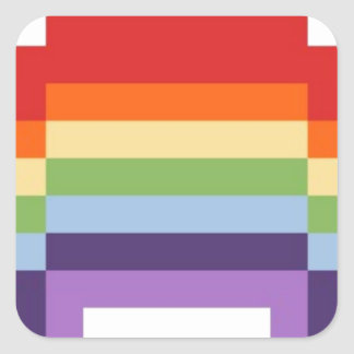 pixel art rainbow square sticker