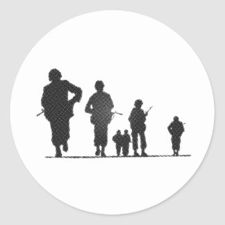 Pixel Art Soldiers Silhouette Classic Round Sticker